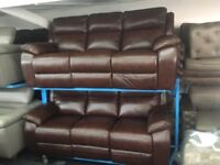 NEW/EX DISPLAY LazyBoy LEATHER WARREN 3 + 3 SEATER RECLINER SOFAS, SETTE, 70% Off RRP