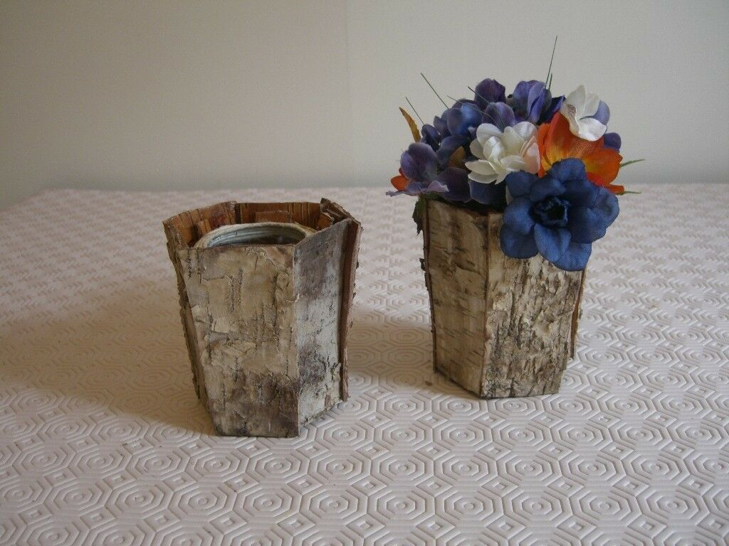 Wedding party decorations/items - 10 small bark vases and various silk  flowers | in Ponteland, Tyne and Wear | Gumtree