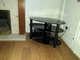 TV table, stand (Black glass)
