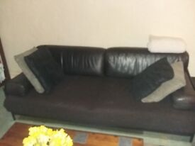 Large dark brown leather 3 seat sofa
