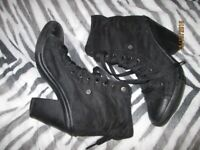 BLACK SUEDE EFFECT CONVERSE TYPE LACE UP BOOTS WITH HEEL SIZE 8 WORN A FEW TIMES