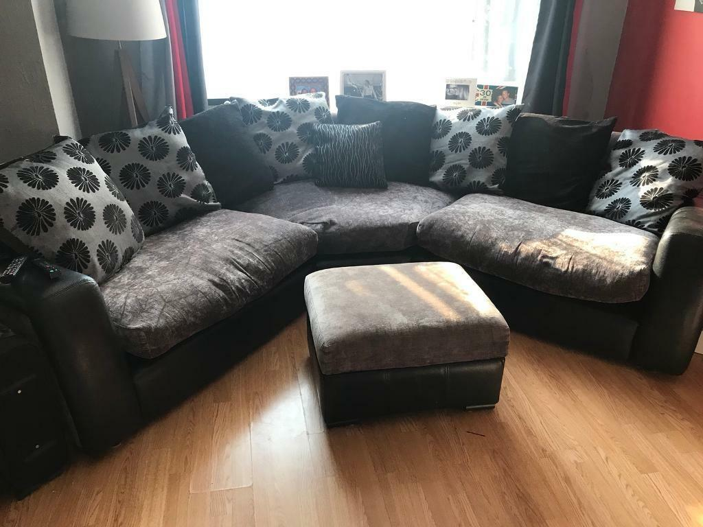 Pleasing Grey Black Fabric Leather Oval Sofa Unit In Meopham Kent Gumtree Squirreltailoven Fun Painted Chair Ideas Images Squirreltailovenorg