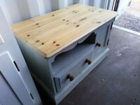 Chalk painted pine TV stand