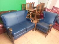 beautiful antique 2 setter high back chair and one high back armchair .excellent condition