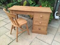 Solid Pine Dressing Table / Desk And Chair