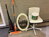 Free Hoover, mirror, mop, desk chair and full tub of wickes fence paint
