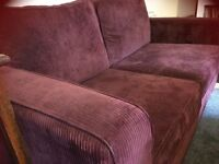 Sofa bed for sale, deep purple large 2 seater excellent condition