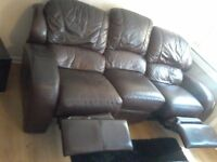 Brown leather 3 seater + 2 seater recliner sofas