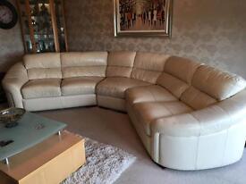 Cream leathe sofa/chair/footstool