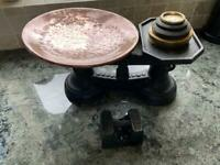 Old kitchen scales. Copper & brass.