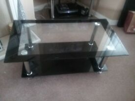 Black gloss and glass rectangle coffee table