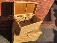 Pair of Wicker Chests / Trunks / Blanket Boxes