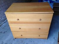 Chest of drawers 3 drawers pine colour