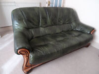 Beautiful emerald leather sofa for free pick up