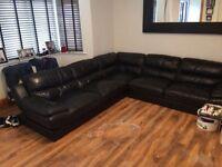 Real leather left hand corner sofa