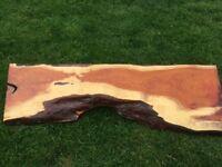 Natural yew wood shelf