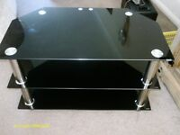 BLACK AND CHROME TV/DISPLAY STAND