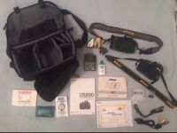 Nikon D5200 DSLR and Nikon N90 Film Camera with accessories