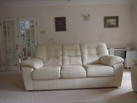 2 x LEATHER IVORY COLOURED THREE SEATER SOFAS