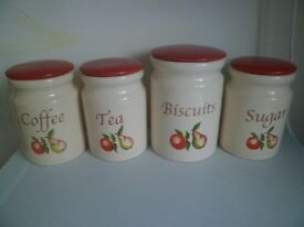 Set of Cream & TerracottaTea,Coffee,SugarH16x11cm & BiscuitH18x13cm Jars.Fruit pattern.