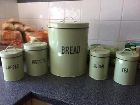 Tea, Coffee, Sugar, Bread & Biscuit Canisters