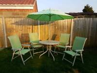 Garden furniture (4 chairs, table & parasol)