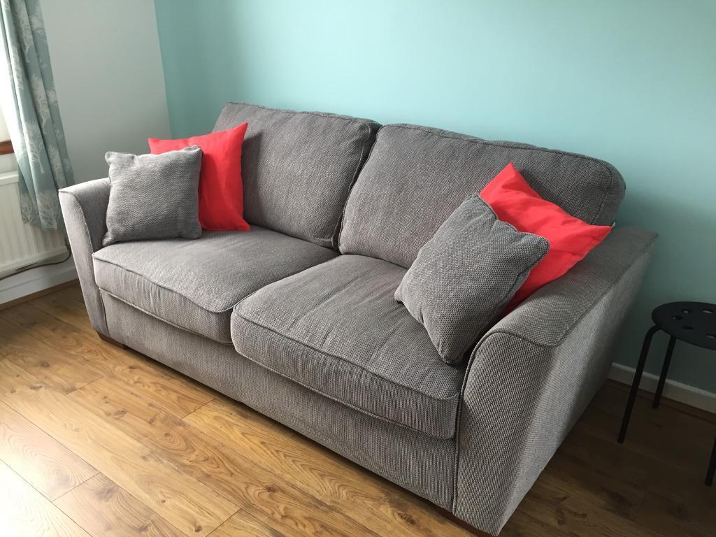 Grey Fabric Bhs Sofa And Storage Footstool