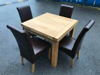 Oak furniture land table chairs solid oak and real leather chairs possible delivery