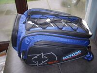 OXFORD 30 LITRE TAIL PACK WITH SECURING STRAPS AND WATERPROOF COVER,AS NEW.
