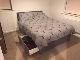 Double bed (divan with storage, cushioned headboard and double mattress)
