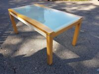 Italian Frosted Glass & Wood Dining Table FREE DELIVERY 314