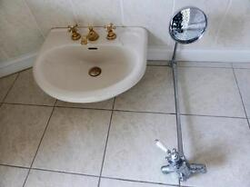Bathroom fixtures - shower screen with tray, mixer, basin, pan and cistern. Bathroom refurbing