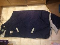 WeatherBeeta Landa Turnout Rug 5'9 Navy/Silver with neck rug