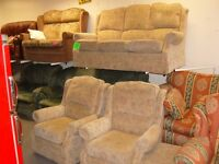 3 Piece Suite. 3 Seater Sofa Settee 2 Armchairs with Storage Footstool. Beige. Very Good Condition