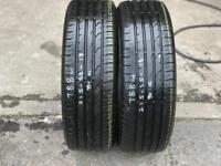 2 part worn tyres 215/55/18 CONTINENTAL CONTIPREMIUMCONTACT 2