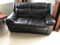 Electric leather reclining sofa.
