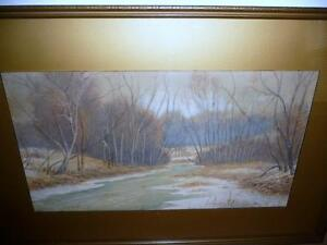 "Antique Winter Watercolor S. K. Davidson ""Winter River"" 1916"