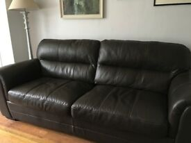 3-SEATER BROWN LEATHER SOFA - excellent condition