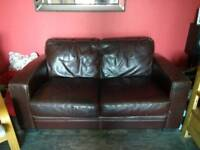 Brown leather comfy sofa