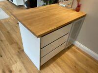 Kitchen Island w/ Bespoke Solid Beech Worktop (storage, drawers + cupboard)