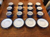 12 Denby Imperial Blue Cups and Saucers