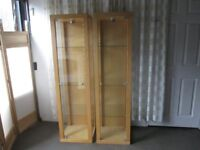 TALL MODERN BIRCH EFFECT AND GLASS SHELVED DISPLAY CABINET WITH LIGHT FREE DELIVERY