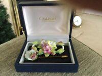 Coalport fine china flower brooch &matching pin brooch