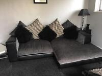 Grey & Black Velvet with leather arms large 4 seater and two seater settee.