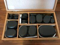 60 piece hot stone set in handmade bamboo box
