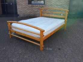 solid pine double bed frame with brand new 8 inch thick memory foam mattress