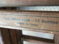 Indian teak wood 12 bottle wine rack - Excellent condition