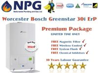 SUPPLY+FIT Worcester Bosch Greenstar 30i ErP Combi Boiler+MagneticFilter+WirelessClock+Flush+10Years