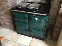 Green Rayburn, 499K. Two burner, oil fired range in great condition