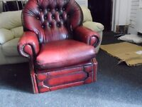 Chesterfield Leather Sofa Armchair & Recliner Armchair in need of repair selling both two togeather